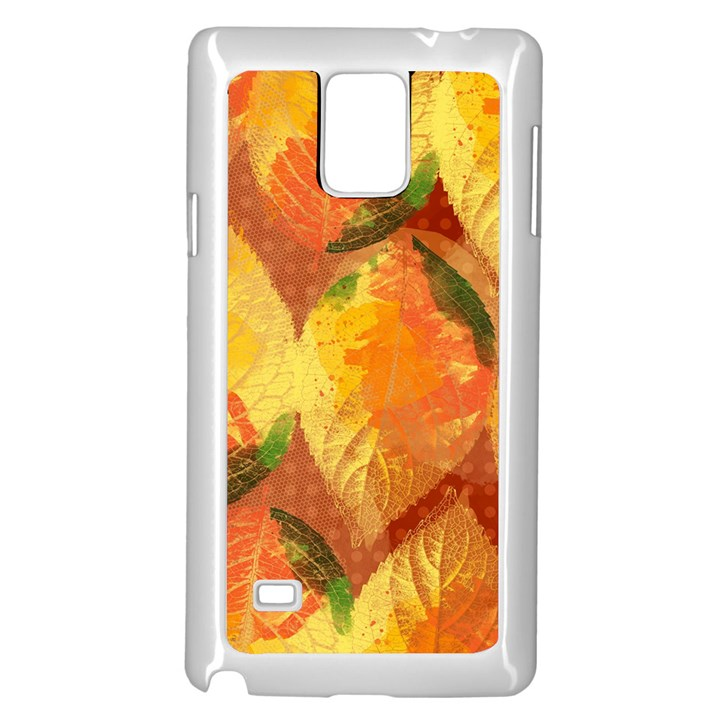 Fall Colors Leaves Pattern Samsung Galaxy Note 4 Case (White)