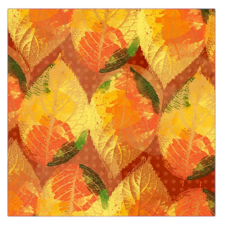 Fall Colors Leaves Pattern Large Satin Scarf (Square)