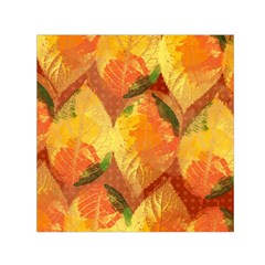 Fall Colors Leaves Pattern Small Satin Scarf (Square)