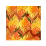 Fall Colors Leaves Pattern Small Satin Scarf (Square)  Front