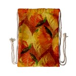 Fall Colors Leaves Pattern Drawstring Bag (Small) Front