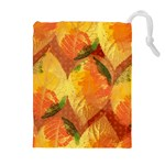 Fall Colors Leaves Pattern Drawstring Pouches (Extra Large) Front
