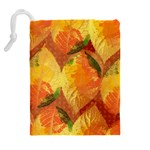 Fall Colors Leaves Pattern Drawstring Pouches (Extra Large) Back