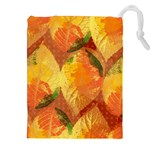 Fall Colors Leaves Pattern Drawstring Pouches (XXL) Front
