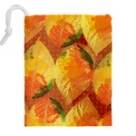 Fall Colors Leaves Pattern Drawstring Pouches (XXL) Back