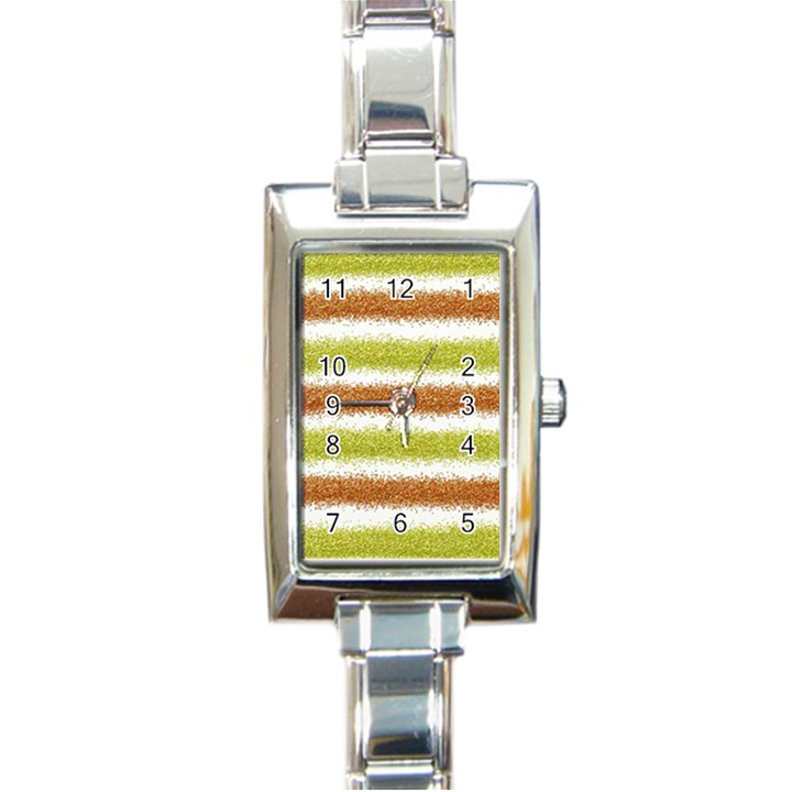 Metallic Gold Glitter Stripes Rectangle Italian Charm Watch