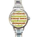 Metallic Gold Glitter Stripes Round Italian Charm Watch Front