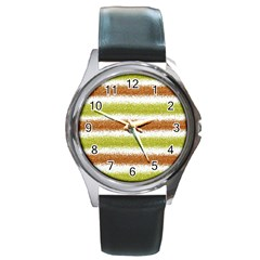 Metallic Gold Glitter Stripes Round Metal Watch