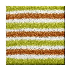Metallic Gold Glitter Stripes Tile Coasters