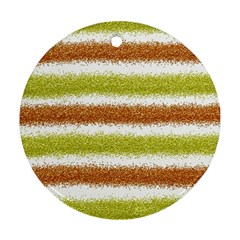 Metallic Gold Glitter Stripes Ornament (Round)