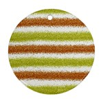 Metallic Gold Glitter Stripes Ornament (Round)  Front