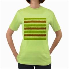 Metallic Gold Glitter Stripes Women s Green T-Shirt