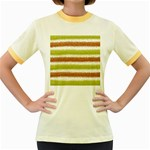 Metallic Gold Glitter Stripes Women s Fitted Ringer T-Shirts Front