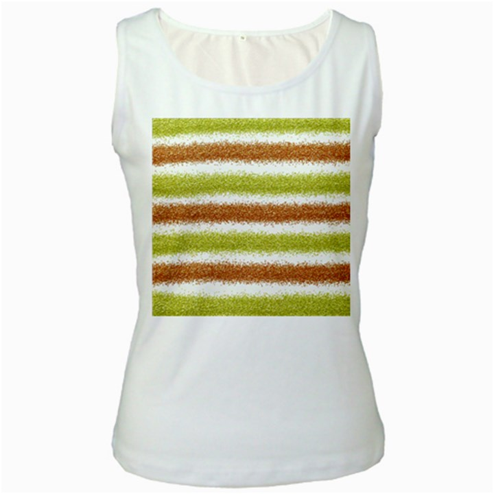 Metallic Gold Glitter Stripes Women s White Tank Top