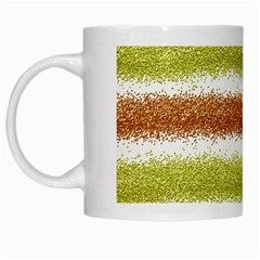 Metallic Gold Glitter Stripes White Mugs