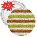 Metallic Gold Glitter Stripes 3  Buttons (10 pack)  Front