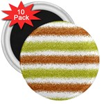 Metallic Gold Glitter Stripes 3  Magnets (10 pack)  Front