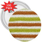 Metallic Gold Glitter Stripes 3  Buttons (100 pack)  Front