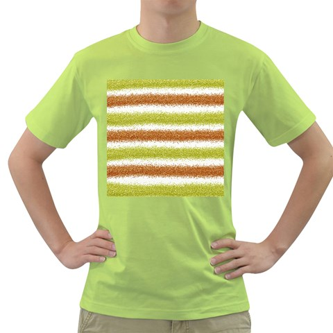 Metallic Gold Glitter Stripes Green T-Shirt