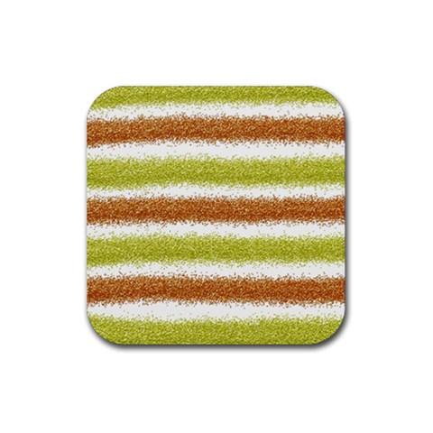 Metallic Gold Glitter Stripes Rubber Coaster (Square)
