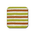 Metallic Gold Glitter Stripes Rubber Square Coaster (4 pack)  Front