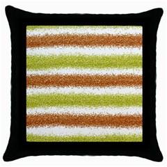 Metallic Gold Glitter Stripes Throw Pillow Case (Black)