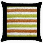 Metallic Gold Glitter Stripes Throw Pillow Case (Black) Front