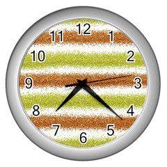 Metallic Gold Glitter Stripes Wall Clocks (Silver)