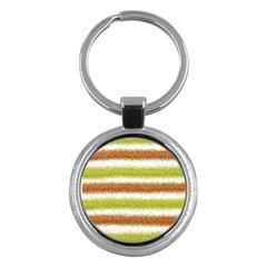Metallic Gold Glitter Stripes Key Chains (Round)