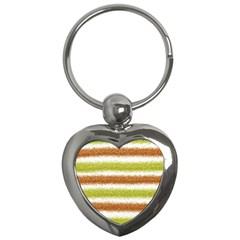 Metallic Gold Glitter Stripes Key Chains (Heart)