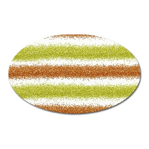 Metallic Gold Glitter Stripes Oval Magnet