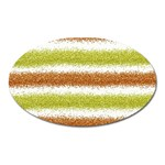 Metallic Gold Glitter Stripes Oval Magnet Front