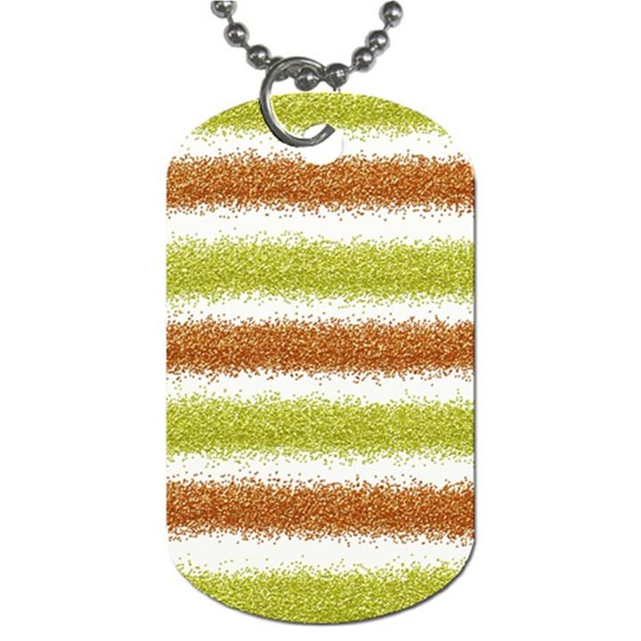 Metallic Gold Glitter Stripes Dog Tag (One Side)