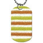 Metallic Gold Glitter Stripes Dog Tag (Two Sides) Front