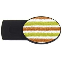 Metallic Gold Glitter Stripes USB Flash Drive Oval (1 GB)