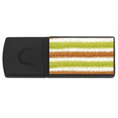 Metallic Gold Glitter Stripes USB Flash Drive Rectangular (2 GB)