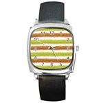 Metallic Gold Glitter Stripes Square Metal Watch Front