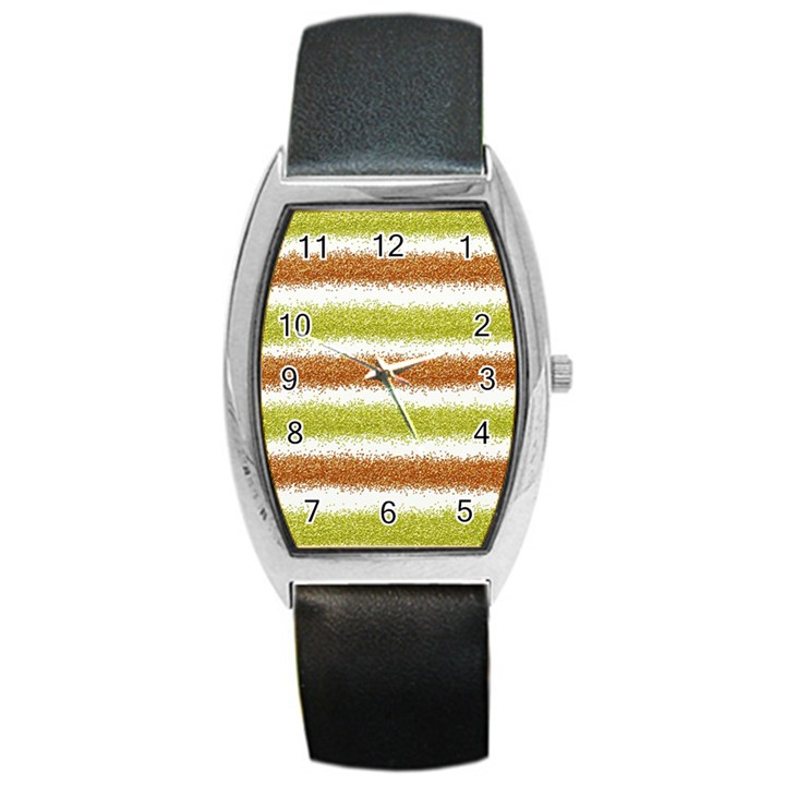 Metallic Gold Glitter Stripes Barrel Style Metal Watch