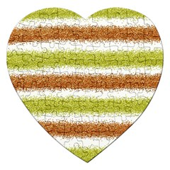 Metallic Gold Glitter Stripes Jigsaw Puzzle (Heart)
