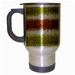 Metallic Gold Glitter Stripes Travel Mug (Silver Gray) Left