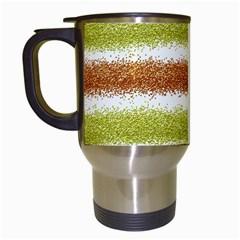Metallic Gold Glitter Stripes Travel Mugs (White)