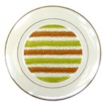 Metallic Gold Glitter Stripes Porcelain Plates Front