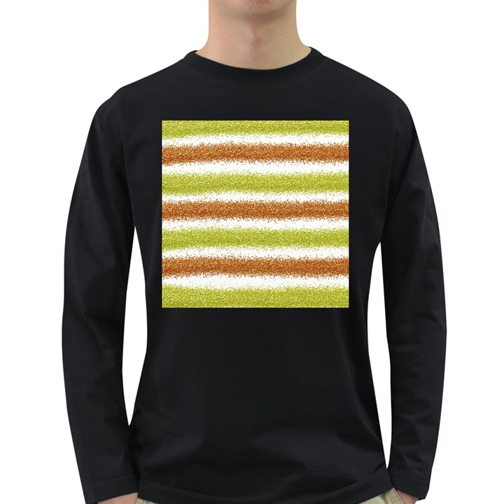 Metallic Gold Glitter Stripes Long Sleeve Dark T-Shirts