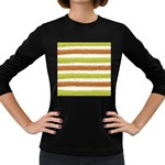 Metallic Gold Glitter Stripes Women s Long Sleeve Dark T-Shirts Front