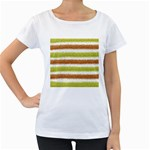 Metallic Gold Glitter Stripes Women s Loose-Fit T-Shirt (White) Front