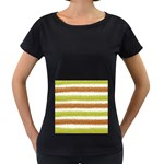 Metallic Gold Glitter Stripes Women s Loose-Fit T-Shirt (Black) Front