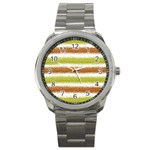 Metallic Gold Glitter Stripes Sport Metal Watch Front