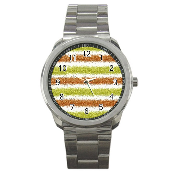 Metallic Gold Glitter Stripes Sport Metal Watch