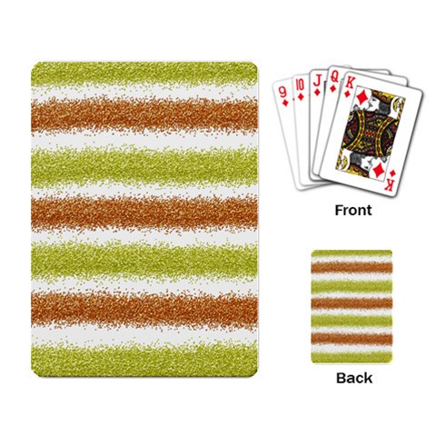 Metallic Gold Glitter Stripes Playing Card