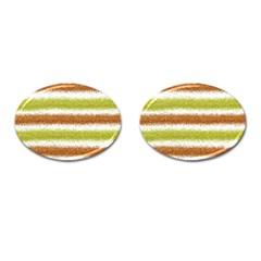 Metallic Gold Glitter Stripes Cufflinks (Oval)